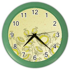 Sunflower Fly Flower Floral Color Wall Clocks