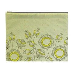 Sunflower Fly Flower Floral Cosmetic Bag (xl)