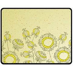 Sunflower Fly Flower Floral Fleece Blanket (medium)
