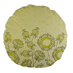 Sunflower Fly Flower Floral Large 18  Premium Round Cushions