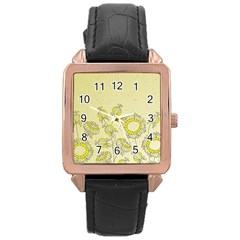 Sunflower Fly Flower Floral Rose Gold Leather Watch