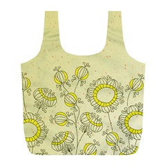 Sunflower Fly Flower Floral Full Print Recycle Bags (l)