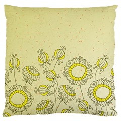 Sunflower Fly Flower Floral Large Flano Cushion Case (two Sides)