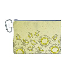 Sunflower Fly Flower Floral Canvas Cosmetic Bag (m)