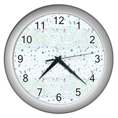 Spot Polka Dots Blue Pink Sexy Wall Clocks (silver)