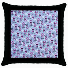 Pattern Kitty Headphones  Throw Pillow Case (black)