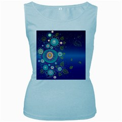 Flower Blue Floral Sunflower Star Polka Dots Sexy Women s Baby Blue Tank Top