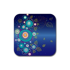 Flower Blue Floral Sunflower Star Polka Dots Sexy Rubber Square Coaster (4 Pack)