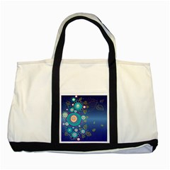 Flower Blue Floral Sunflower Star Polka Dots Sexy Two Tone Tote Bag
