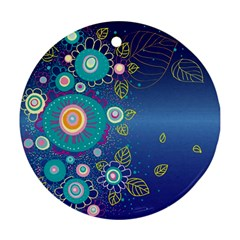 Flower Blue Floral Sunflower Star Polka Dots Sexy Round Ornament (two Sides)