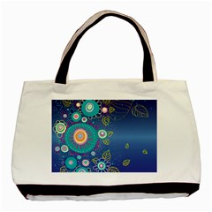 Flower Blue Floral Sunflower Star Polka Dots Sexy Basic Tote Bag (two Sides)
