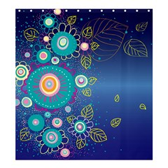 Flower Blue Floral Sunflower Star Polka Dots Sexy Shower Curtain 66  X 72  (large)