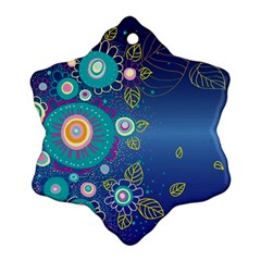 Flower Blue Floral Sunflower Star Polka Dots Sexy Snowflake Ornament (two Sides)