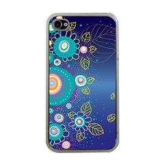Flower Blue Floral Sunflower Star Polka Dots Sexy Apple Iphone 4 Case (clear)