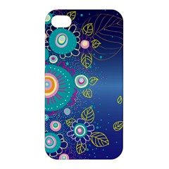 Flower Blue Floral Sunflower Star Polka Dots Sexy Apple Iphone 4/4s Premium Hardshell Case