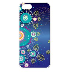 Flower Blue Floral Sunflower Star Polka Dots Sexy Apple Iphone 5 Seamless Case (white)