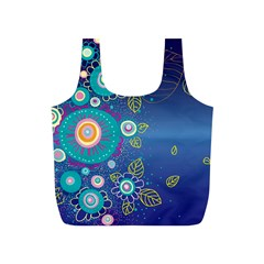 Flower Blue Floral Sunflower Star Polka Dots Sexy Full Print Recycle Bags (s)