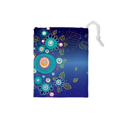 Flower Blue Floral Sunflower Star Polka Dots Sexy Drawstring Pouches (small)