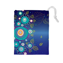 Flower Blue Floral Sunflower Star Polka Dots Sexy Drawstring Pouches (large)