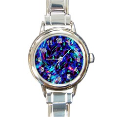 Dark Neon Stuff Blue Red Black Rainbow Light Round Italian Charm Watch