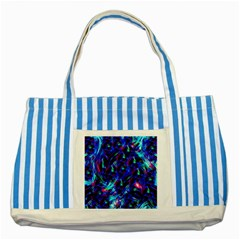 Dark Neon Stuff Blue Red Black Rainbow Light Striped Blue Tote Bag