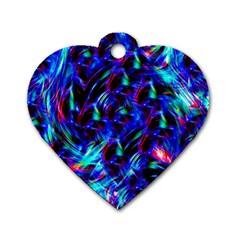Dark Neon Stuff Blue Red Black Rainbow Light Dog Tag Heart (two Sides)