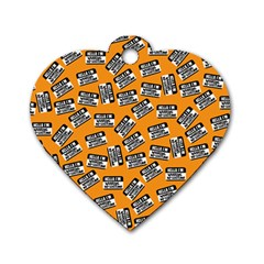 Pattern Halloween  Dog Tag Heart (two Sides)