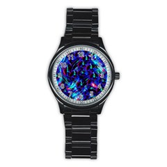 Dark Neon Stuff Blue Red Black Rainbow Light Stainless Steel Round Watch