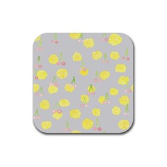 Cute Fruit Cerry Yellow Green Pink Rubber Square Coaster (4 Pack)