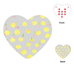 Cute Fruit Cerry Yellow Green Pink Playing Cards (heart)