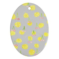 Cute Fruit Cerry Yellow Green Pink Oval Ornament (two Sides)