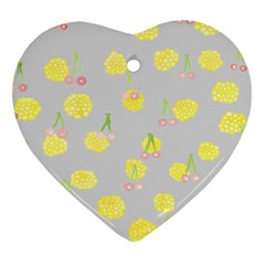 Cute Fruit Cerry Yellow Green Pink Heart Ornament (two Sides)