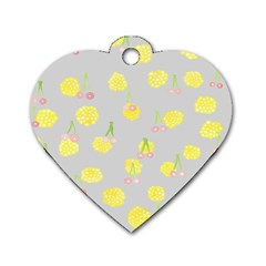 Cute Fruit Cerry Yellow Green Pink Dog Tag Heart (two Sides)