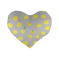 Cute Fruit Cerry Yellow Green Pink Standard 16  Premium Heart Shape Cushions