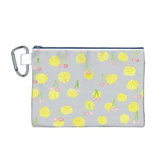 Cute Fruit Cerry Yellow Green Pink Canvas Cosmetic Bag (m)