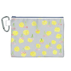Cute Fruit Cerry Yellow Green Pink Canvas Cosmetic Bag (xl)