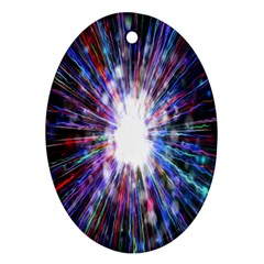 Seamless Animation Of Abstract Colorful Laser Light And Fireworks Rainbow Ornament (oval)