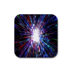 Seamless Animation Of Abstract Colorful Laser Light And Fireworks Rainbow Rubber Coaster (square)