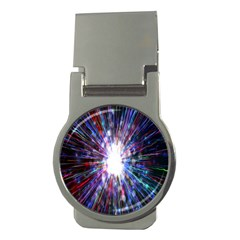 Seamless Animation Of Abstract Colorful Laser Light And Fireworks Rainbow Money Clips (round)