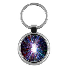 Seamless Animation Of Abstract Colorful Laser Light And Fireworks Rainbow Key Chains (round)