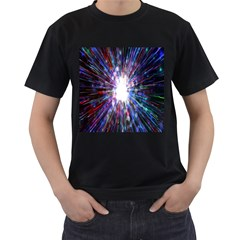Seamless Animation Of Abstract Colorful Laser Light And Fireworks Rainbow Men s T Shirt (black) (two Sided)