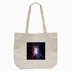 Seamless Animation Of Abstract Colorful Laser Light And Fireworks Rainbow Tote Bag (cream)