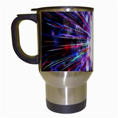 Seamless Animation Of Abstract Colorful Laser Light And Fireworks Rainbow Travel Mugs (white)