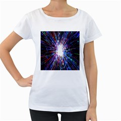 Seamless Animation Of Abstract Colorful Laser Light And Fireworks Rainbow Women s Loose Fit T Shirt (white)