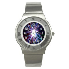 Seamless Animation Of Abstract Colorful Laser Light And Fireworks Rainbow Stainless Steel Watch