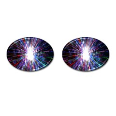 Seamless Animation Of Abstract Colorful Laser Light And Fireworks Rainbow Cufflinks (oval)