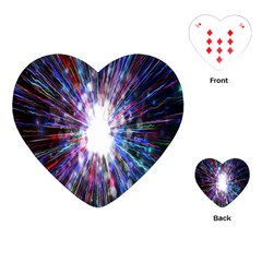 Seamless Animation Of Abstract Colorful Laser Light And Fireworks Rainbow Playing Cards (heart)