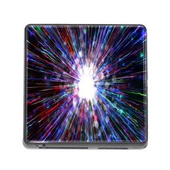 Seamless Animation Of Abstract Colorful Laser Light And Fireworks Rainbow Memory Card Reader (square)