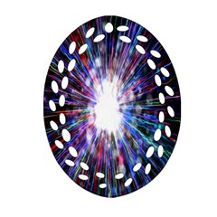 Seamless Animation Of Abstract Colorful Laser Light And Fireworks Rainbow Oval Filigree Ornament (two Sides)