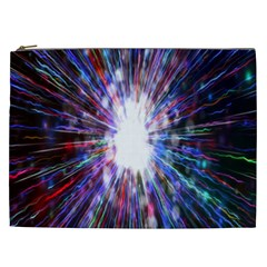 Seamless Animation Of Abstract Colorful Laser Light And Fireworks Rainbow Cosmetic Bag (xxl)